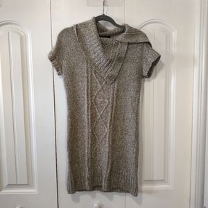 Brown tan knitted cowl neck sweater dress argyle